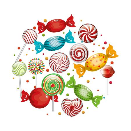 sweetstuff: collection candies lollipop design graphic vector illustration