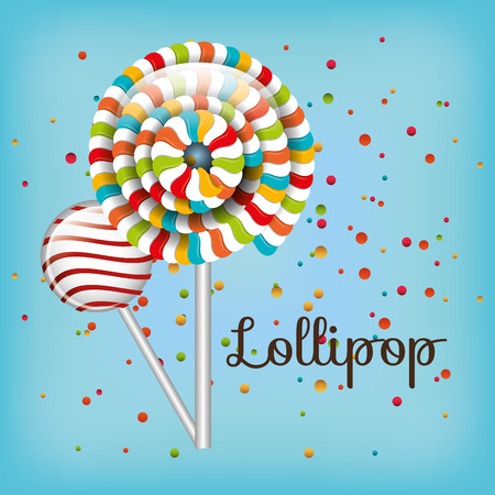 lollipop spiral colors and confetti with blue background vector illustration