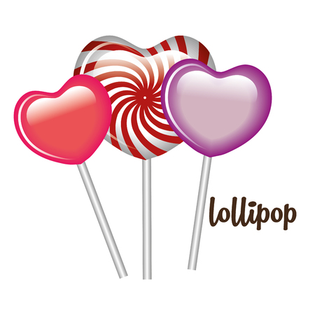 three lollipop heart sweet graphic vector illustration Illustration