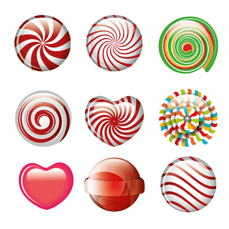 set candies spiral and heart different color design vector illustration