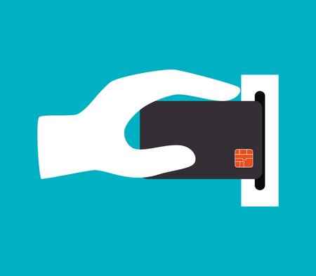 hand holding credit card icon design vector illustration
