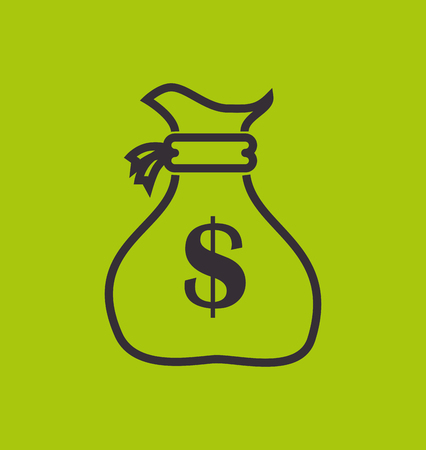 cash money: bag money yellow design vector illustration eps 10