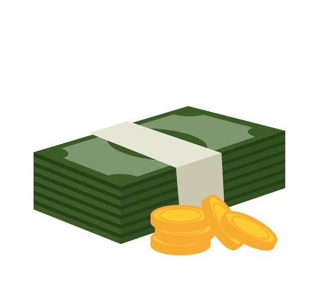bills wad and currency isolated graphic vector illustration eps 10 Ilustração