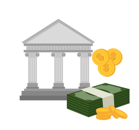 cash money: bank building with bill and currency isolated vector illustration eps 10