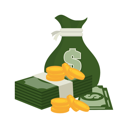 bag money green and currency, bill design vector illustration eps 10