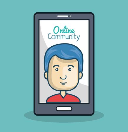 cartoon man and smartphone online community vector illustration eps 10