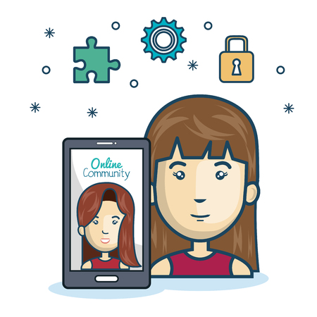woman community online smartphone with app media design vector illustration eps 10