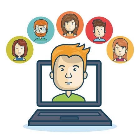 man community online smartphone design vector illustration eps 10