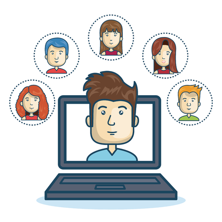 mobile website: Man community online smartphone design vector illustration eps 10 Illustration