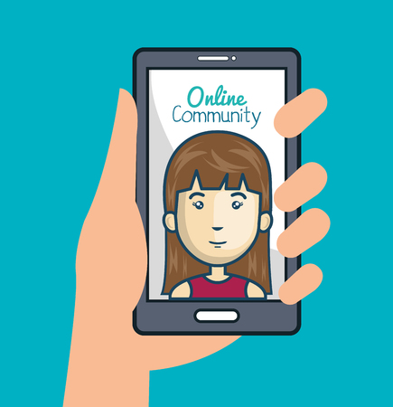 community online with hand holdign smartphone vector illustration