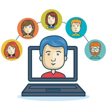 mobile website: man community online smartphone design vector illustration