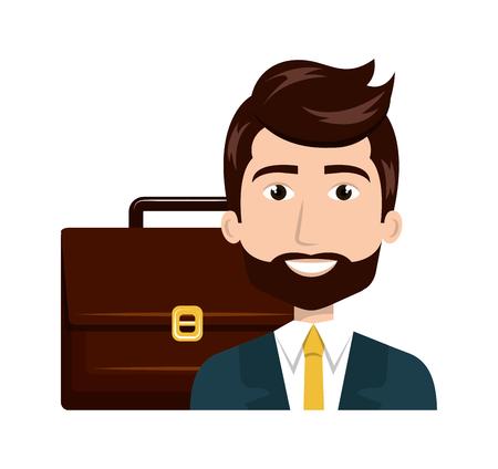 man: man cartoon suitcase isolated vector illustration