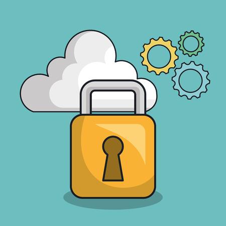 padlock secure tool design vector illustration eps 10 Illustration