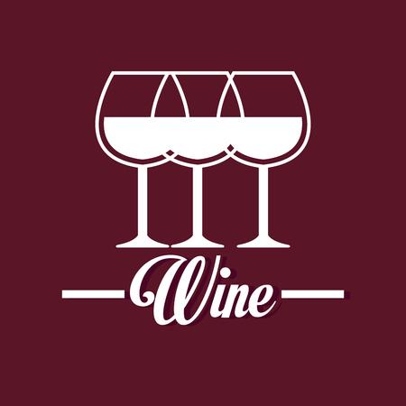wine glass label design isolated vector illustration eps 10