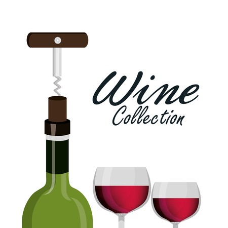 wine glass corkscrew label design isolated vector illustration eps 10