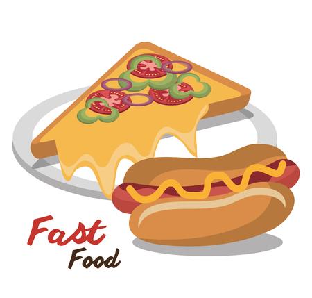 ホットドッグ ピザ ファーストフード分離デザイン ベクトル図  イラスト・ベクター素材