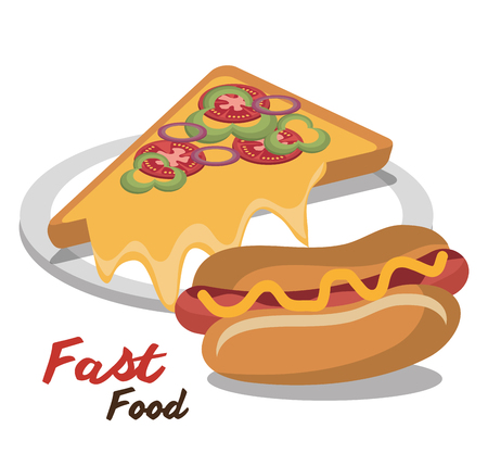 hot dog pizza fast food design isolated vector illustration