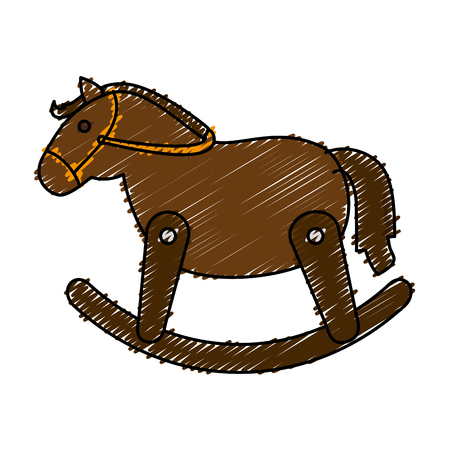 wooden horse: wooden horse cute toy vector illustration design