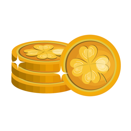 cash money: coins with clover icon vector illustration design