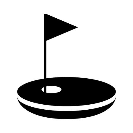 Agujero de golf con bandera de diseño de ilustración vectorial Foto de archivo - 76358793