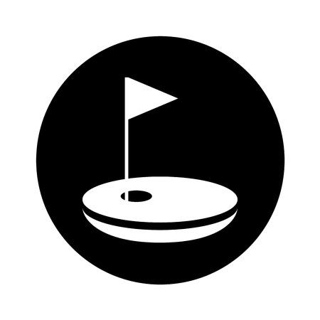 Agujero de golf con bandera de diseño de ilustración vectorial Foto de archivo - 76358934