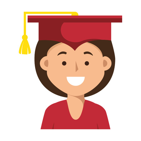 student woman graduated isolated icon vector illustration design