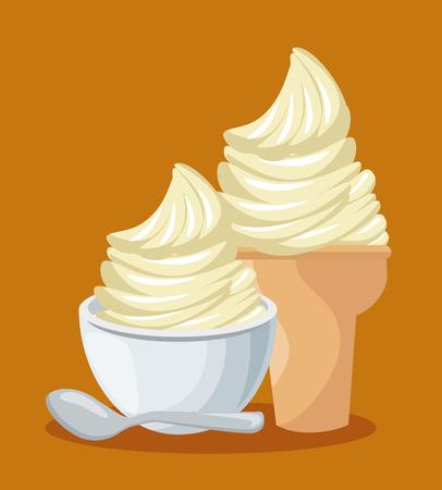 アイス クリーム分離アイコン ベクトル イラスト デザイン