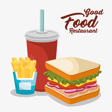 delicious fast food menu vector illustration design Banco de Imagens - 76354086