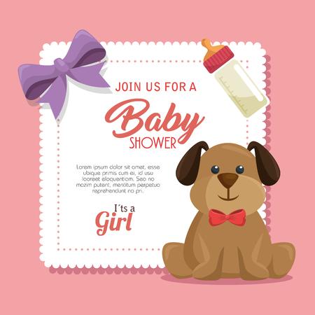 cute dog: baby shower invitation card vector illustration design Illustration