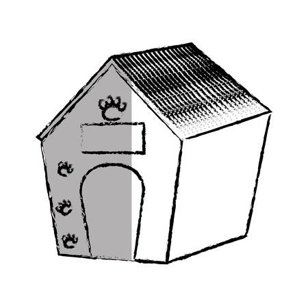 pet wooden house icon vector illustration design