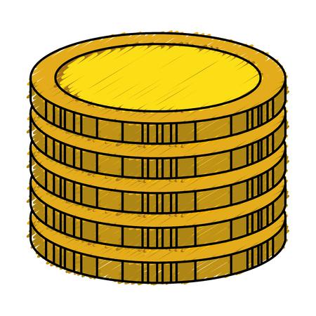 Monete tesoro isolato icona illustrazione vettoriale di progettazione Archivio Fotografico - 76399882