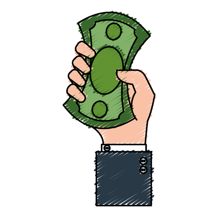 hand human with bills money isolated icon vector illustration design Illustration