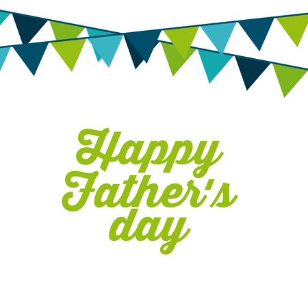 happy father day card with decorative pennants. colorful design. vector illustration