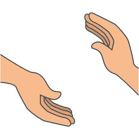 Vector de illustratieontwerp van het handen menselijk geïsoleerd pictogram