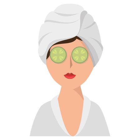 Mujer en diseño de ilustración de vector de personaje de spa Foto de archivo - 76509928