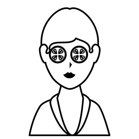 Mujer en diseño de ilustración de vector de personaje de spa Foto de archivo - 76509760