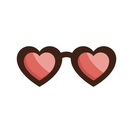 Eyeglasses with heart shape vector illustration design