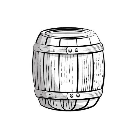 wooden barrel icon over white background. vector illustration Ilustrace