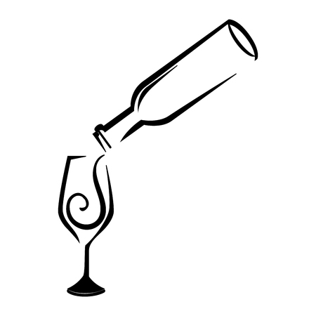 Wine bottle and wineglass icon over white background. vector illustration