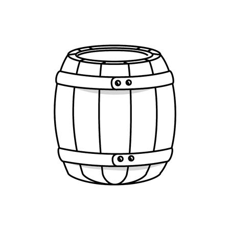 Wooden barrel icon over white background. vector illustration Illustration