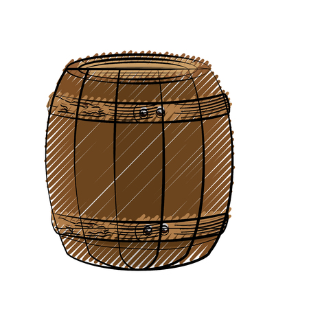 Wooden barrel icon over white background. colorful design. vector illustration Stock Vector - 76557263