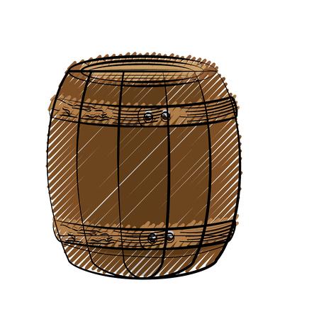Wooden barrel icon over white background. colorful design. vector illustration