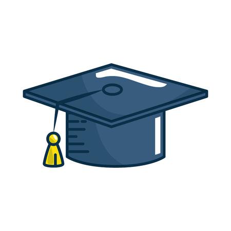 白い背景の上卒業キャップ アイコン。カラフルなデザイン。ベクトル図