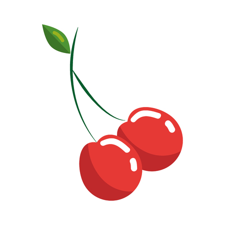 Cherry fruit icon over white background. colorful desing. vector illustration Illustration