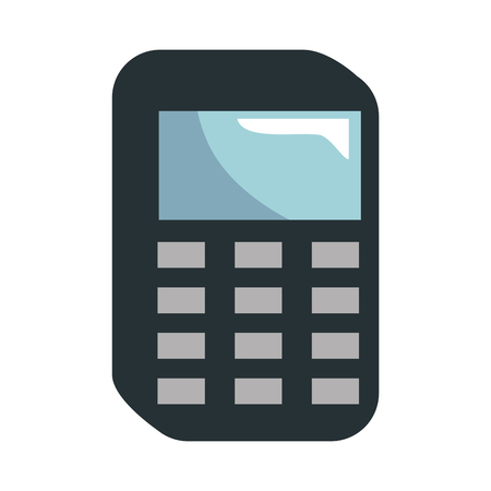 Calculator device icon over white background. vector illustration Çizim