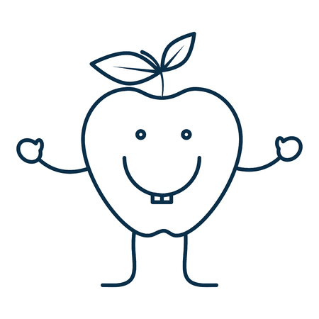 Happy apple fruit icon over white background. vector illustration