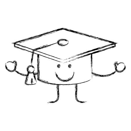 卒業おめでとうキャップ漫画アイコン白背景の上。ベクトル図  イラスト・ベクター素材