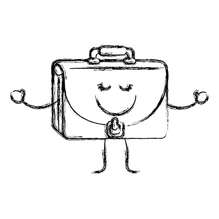 Happy briefcase cartoon icon over white background. vector illustration