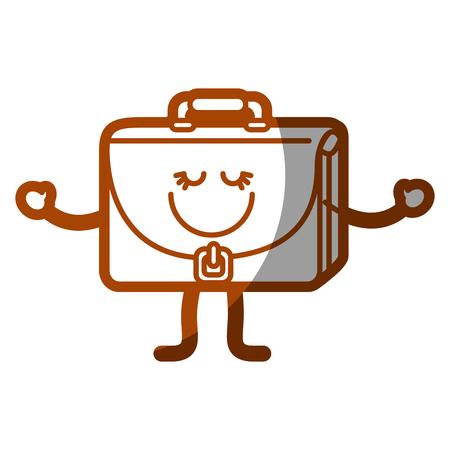 Happy briefcase cartoon icon.