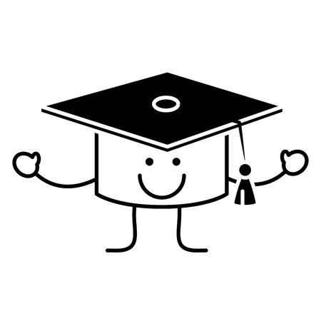 卒業おめでとうキャップ漫画アイコン。  イラスト・ベクター素材